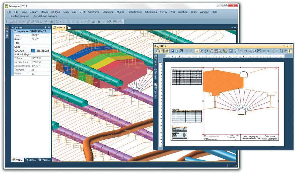 Interactive ring design and stopes grades and tonnage report, with specialised plotting tools that allow users to create sophisticated ring design plots.