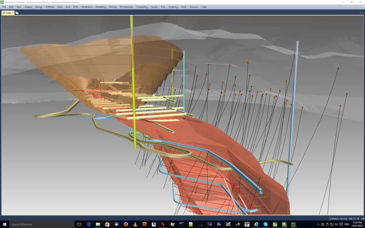 Enhanced CAD and Wireframing tools are provided for mine design - from open pit to underground, any commodity and any complexity